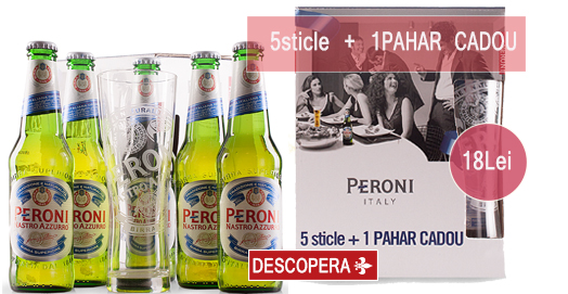 Pachet Peroni 5sticle+1Pahar Cadou