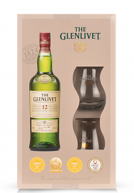Whisky The Glenlivet 12 ani + Gift Box, Single Malt Scotch Whisky (0.7L)