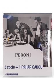 Bere Peroni Sticla (0.33L x 5) + Pahar Cadou